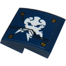 LEGO Dark Blue Slope 2 x 2 Curved with 4 Screws And White Lightning Symbol From Set 70754 Sticker