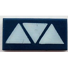 LEGO Dark Blue Tile 1 x 2 with Decoration with Groove