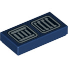 LEGO Dark Blue Tile 1 x 2 with Decoration with Groove (31473)
