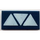 LEGO Dark Blue Tile 1 x 2 with Vulture Droid Triangles with Groove