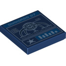 LEGO Dark Blue Tile 2 x 2 with Decoration with Groove (26303)
