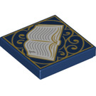 LEGO Dark Blue Tile 2 x 2 with Decoration with Groove (34555)