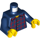 LEGO Dark Blue Torso with red plaid, collared shirt (76382)