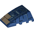 LEGO Dark Blue Wedge 4 x 4 Triple Curved without Studs with Brick & Hieroglyphic Decoration (93899)