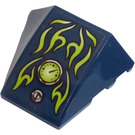 LEGO Dark Blue Wedge Curved 3 x 4 Triple with Flames, Gauge and Screw Sticker