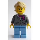 LEGO Dark Bluish Gray Jacket with Magenta Scarf, Medium Blue Legs, Tan Hair Female Minifigure