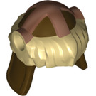 LEGO Hun Warrior Helmet with Tan Fur and Copper Protection Bands Pattern (17353 / 18142)
