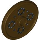 LEGO Dark Brown Round Shield with Silver Dots (99761)