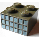 LEGO Dark Gray Brick 2 x 2 with 18 Small Squares (Window Panes) in Fading Grays Pattern on Opposite Sides