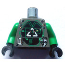 LEGO Dark Gray Insectoids Villian with Airtanks Minifigure head with Green Hair and Copper Eyepiece Torso
