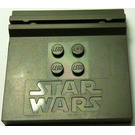 LEGO Dark Gray Plate 6 x 6 with groove with Stars Wars Logo (30566)