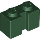 LEGO Dark Green Brick 1 x 2 with Groove (4216)