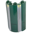 LEGO Dark Green Cylinder Half 2 x 4 x 5 with 1 x 2 Cutout with Hatches, White Lines and Yellow Triangles Sticker
