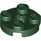 LEGO Dark Green Plate 2 x 2 Round with Axle Hole (with '+' Axle Hole) (4032)