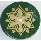 LEGO Dark Green Round Tile 2 x 2 with Gold Star, White Cross and Gold Leaves Sticker