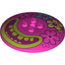 LEGO Dark Pink Dish 6 x 6 Inverted (Radar) with Decoration Solid Studs (67110)