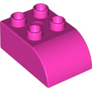 LEGO Dark Pink Duplo Brick 2 x 3 with Curved Top (2302)