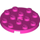 LEGO Dark Pink Plate 4 x 4 Round with Hole and Snapstud (60474)