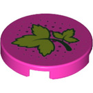 LEGO Dark Pink Round Tile 2 x 2 with Decoration with Bottom Stud Holder (29624)