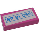 LEGO Dark Pink Tile 1 x 2 with 'SP 91 056' License Plate Sticker with Groove