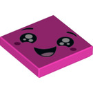 LEGO Dark Pink Tile 2 x 2 with Decoration with Groove (44355)