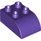LEGO Dark Purple Duplo Brick 2 x 3 with Curved Top (2302)