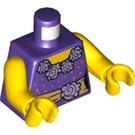 LEGO Dark Purple Minifigure Torso Dress Bodice with Flowers and Golden Sash (76382)