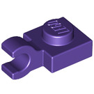 LEGO Dark Purple Plate 1 x 1 with Horizontal Clip (Thick Open 'O' Clip) (52738 / 61252)