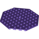 LEGO Dark Purple Plate 10 x 10 Octagonal with Hole and Snapstud (89523)