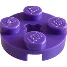 LEGO Dark Purple Plate 2 x 2 Round with Axle Hole (with '+' Axle Hole) (4032)
