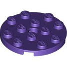 LEGO Dark Purple Plate 4 x 4 Round with Hole and Snapstud (60474)