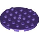 LEGO Dark Purple Plate 6 x 6 Round with Pin Hole (11213)