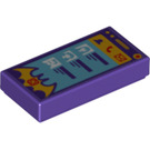 LEGO Dark Purple Tile 1 x 2 with Decoration with Groove (29349)
