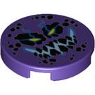 LEGO Dark Purple Tile 2 x 2 Round with Decoration with Bottom Stud Holder (33547)
