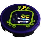 LEGO Dark Purple Tile 2 x 2 Round with Lime Caterpillar Head Sticker with Bottom Stud Holder