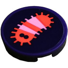 LEGO Dark Purple Tile 2 x 2 Round with Pink and Coral Caterpillar Sticker with Bottom Stud Holder