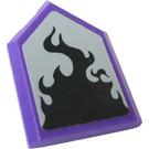 LEGO Dark Purple Tile 2 x 3 Pentagonal with Black Flame Sticker