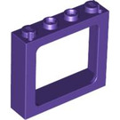 LEGO Dark Purple Train Window 1 x 4 x 3 (center studs hollow, outer studs solid) (6556)