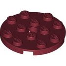 LEGO Dark Red Plate 4 x 4 Round with Hole and Snapstud (60474)