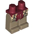 LEGO Dark Red Red Knee Minifigure Hips with Dark Tan Legs (14638)