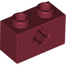 LEGO Dark Red Technic Brick 1 x 2 with Axle Hole (New Style with 'X' Opening) (32064)