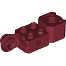 LEGO Dark Red Technic Brick 2 x 2 w/ Axlehole, Click Rot. Hinge (V) and Fist (47431)