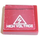 LEGO Dark Red Tile 2 x 2 with 'HIGH VOLTAGE' Sticker with Groove
