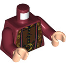 LEGO Dark Red Torso Ornate Robe with Long Scarves, Gold, Reddish Brown and Dark Brown Details Pattern (76382)