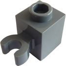 LEGO Dark Stone Gray Brick 1 x 1 with Vertical Clip (Open 'O' Clip, Hollow Stud) (60475 / 65460)