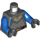 LEGO Dark Stone Gray Crown Soldier with Neck Protector, Chain Mail Armor, Blue Arms Torso (76382)