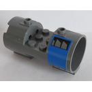 LEGO Dark Stone Gray Cylinder 3 x 6 x 2 2/3 Horizontal with Vents on Blue Background Sticker