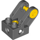 LEGO Dark Stone Gray Duplo Toolo Brick 2 x 2 with Angled Fork Bracket (28336 / 45202)