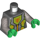 LEGO Dark Stone Gray Nexo Knights Minifig Torso with Orange, Gold, Lime and Wolf Head Decoration (76382)
