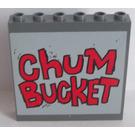 LEGO Dark Stone Gray Panel 1 x 6 x 5 with 'Chum Bucket' Sticker